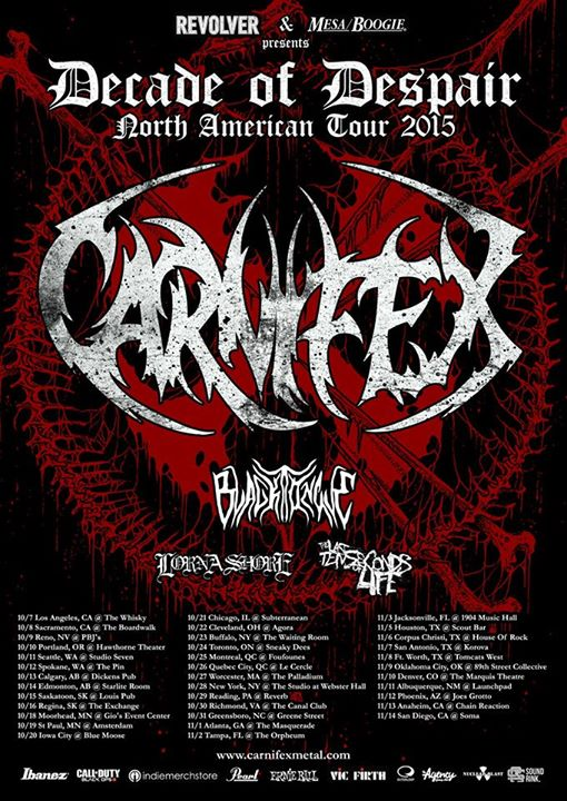 Carnifex - Decade of Despair North American Tour - 2015 Tour Poster