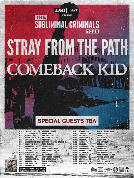 Stray From The Path - The Subliminal Criminals North American Tour - 2015 Tour Poster