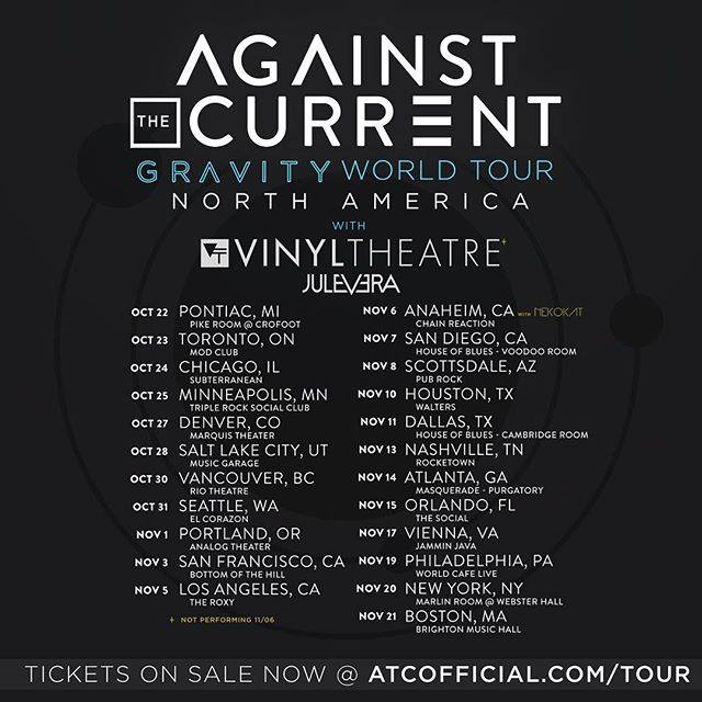 Against The Current - North American Leg of Gravity World Tour 2015 - poster
