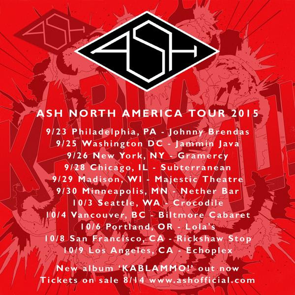Ash - North American Tour - 2015 Tour Poster