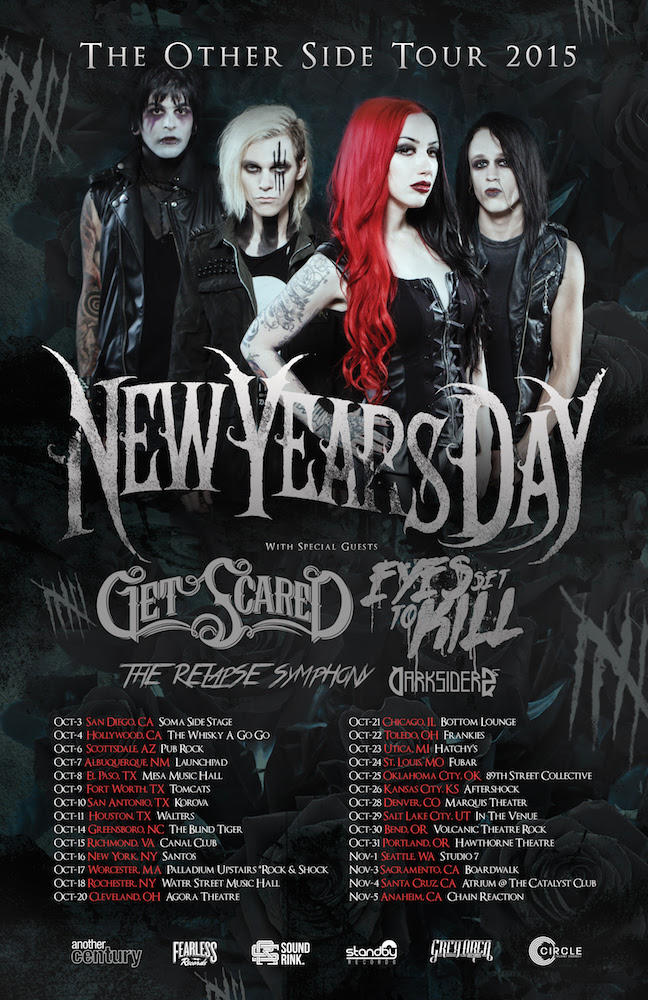 New Years Day - The Other Side Tour 2015 - poster