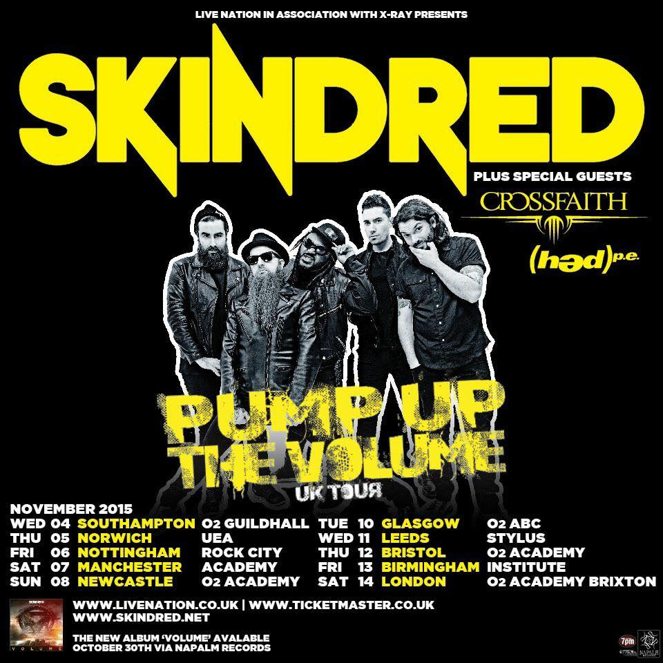 Skindred - Pump Up The Volume UK Tour - 2015 Tour Poster