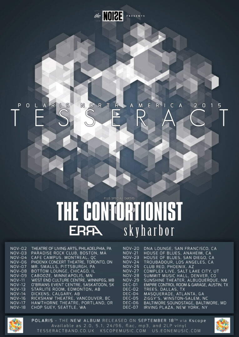 TesseracT - North American Fall Tour 2015 - poster