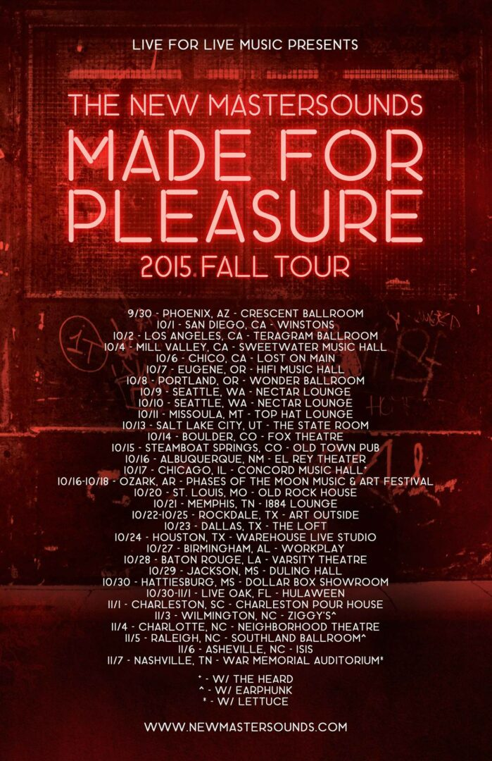 The New Mastersounds - Made For Pleasure U.S. Tour - 2015 Tour Poster