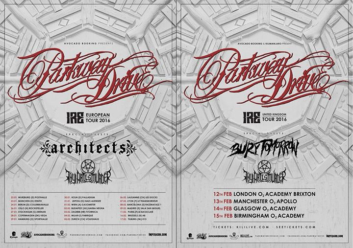 Parkway Drive - European and UK Winter Tours - poster