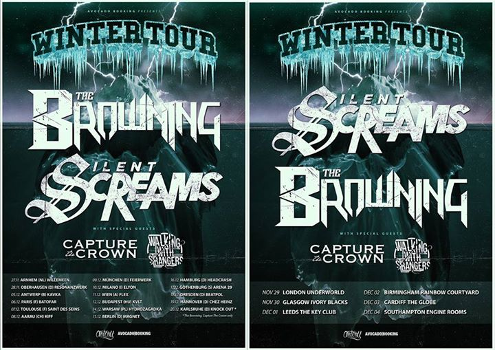 The Browning and Silent Screams - European Winter Tour - 2015 Tour Poster