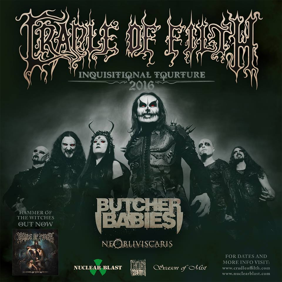 """Cradle of Filth's """"Inquisitional Torture 2016 Tour"""" – Ticket Giveaway"""