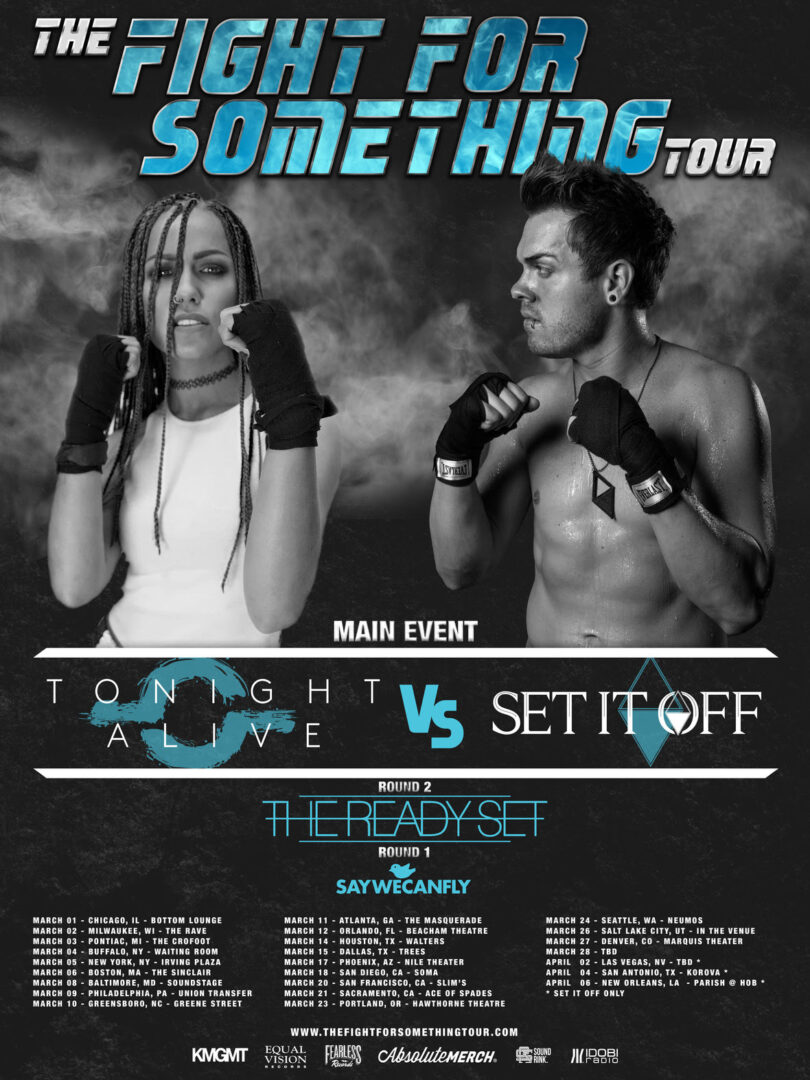 Tonight Alive - Fight for Something 2016 U.S. Tour - 2016 Tour Poster