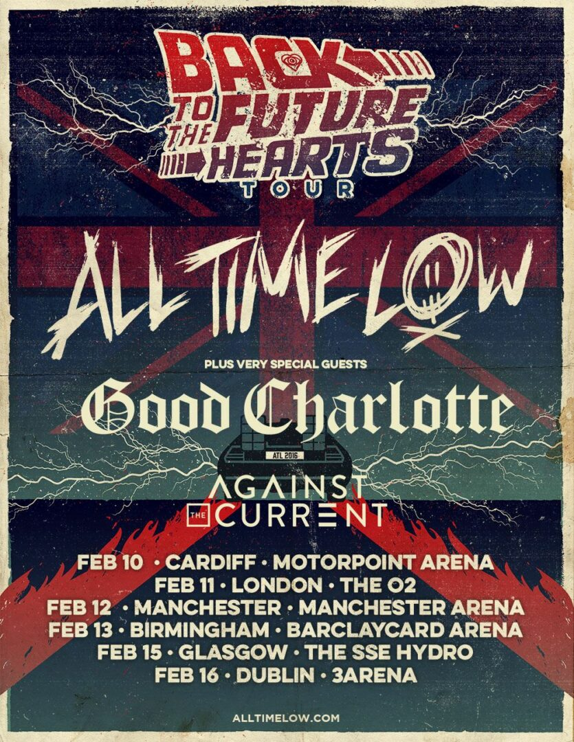 All Time Low - Back to the Future Hearts UK:Ireland Tour - poster