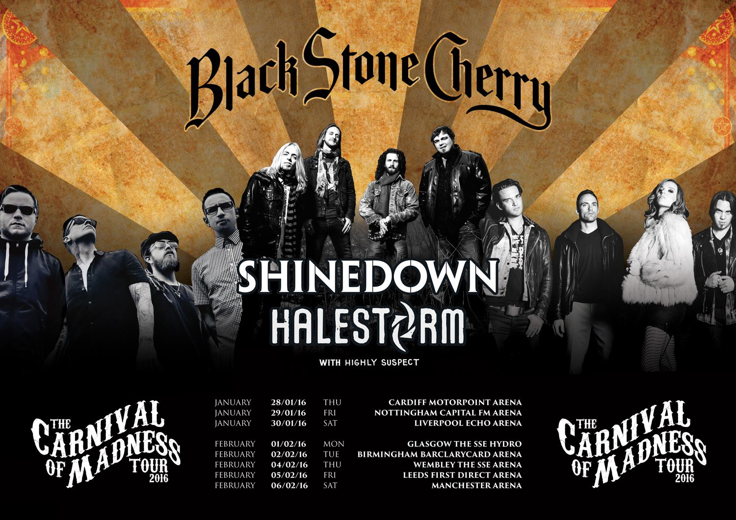 Black Stone Cherry - The Carnival of Madness Tour - poster