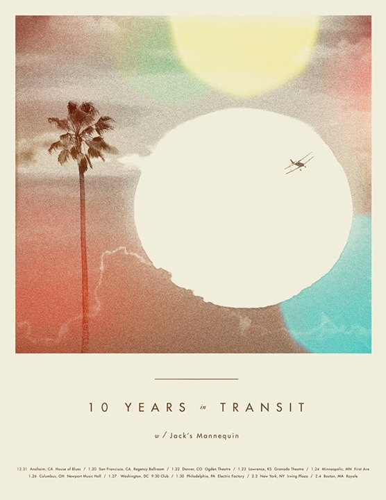 Jack's Mannequin - 10 Years in Transit Anniversary Tour - 2016 Tour Poster