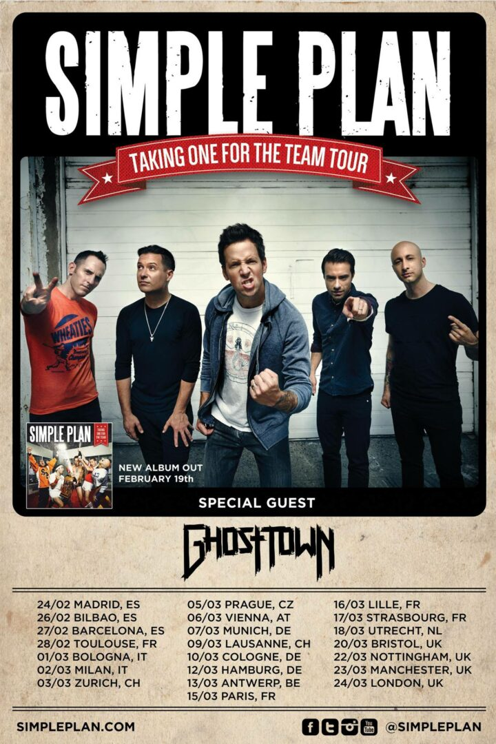Simple Plan - Taking One For The Team World Tour - poster