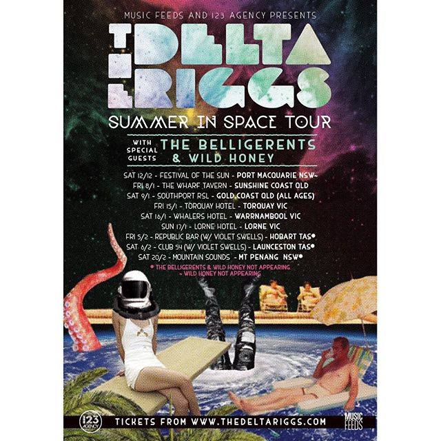 The Delta Riggs - Summer in Space Australian Tour - 2016 Tour Poster