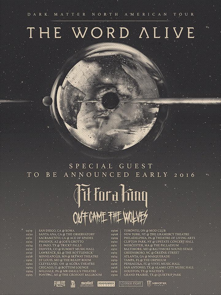 The Word Alive - Dark Matter North American Tour - 2016 Tour Poster