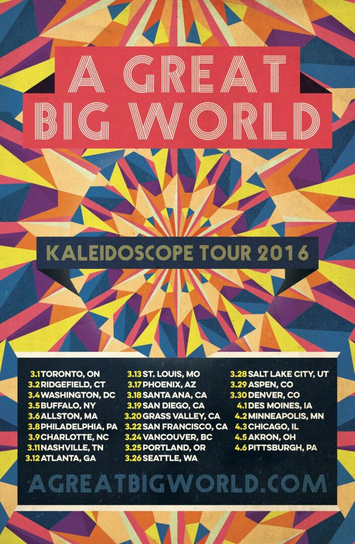 A Great Big World - The Kaleidoscope 2016 North American Tour - 2016 Tour Poster