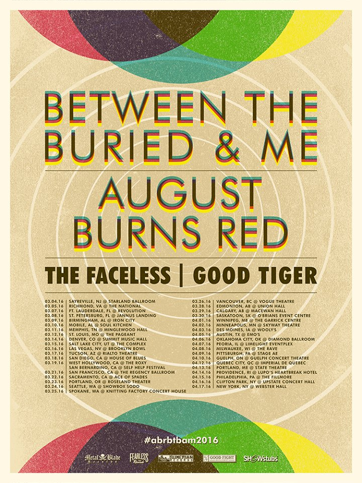 Between The Buried And Me North American Tour-poster