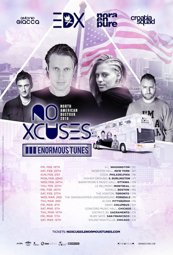 EDX - The North American No Xcuses vs. Enormous Tunes Bus Tour - 2016 Tour Poster