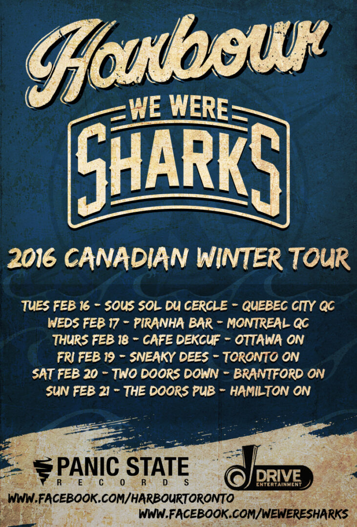 Harbour and We Were Sharks - 2016 Canadian Tour Dates - 2016 Tour Poster