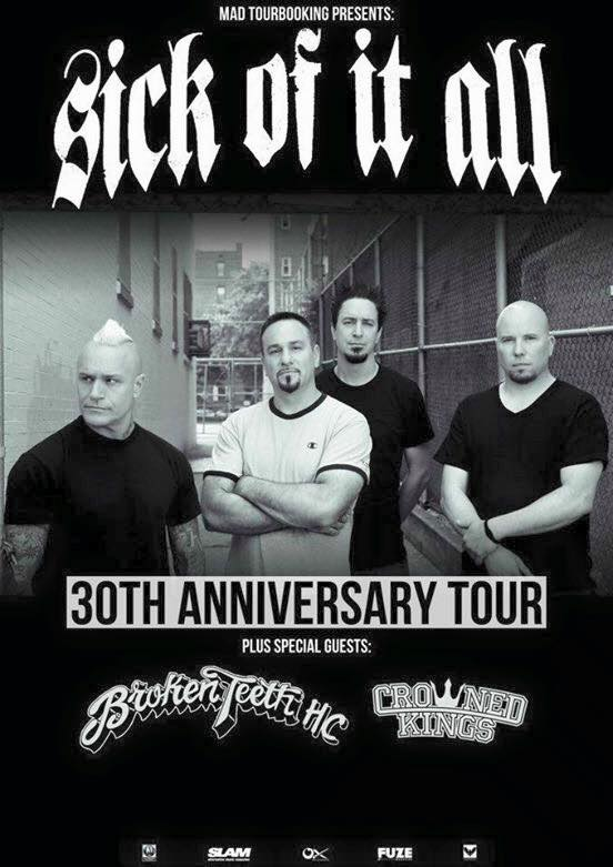 Sick Of It All - 30th Anniversary Tour - 2016 European Tour Poster