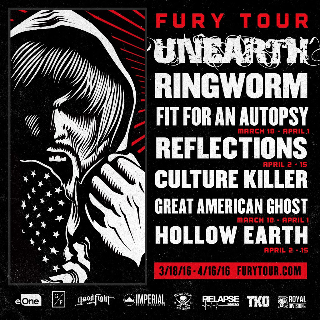 Unearth - Fury Tour 2016 - 2016 North American Tour Poster