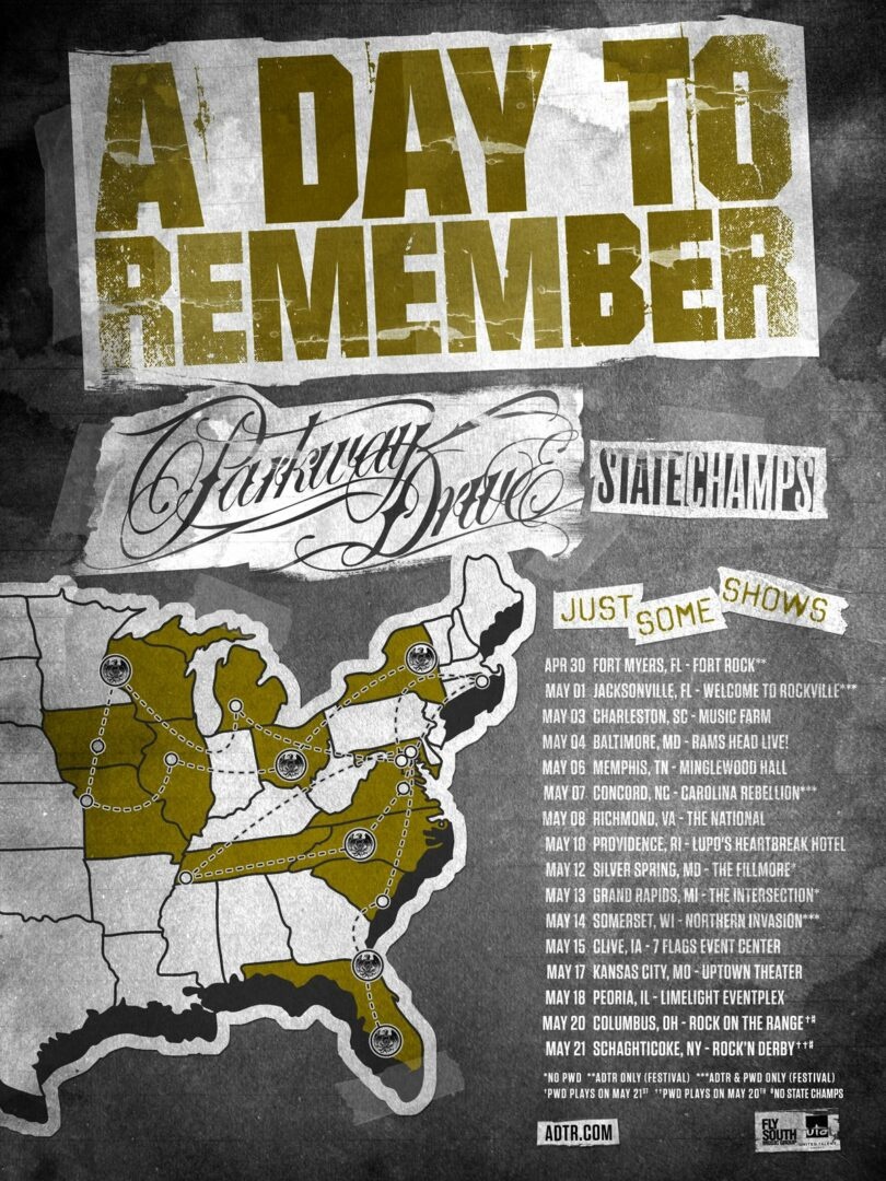 A Day To Remember - Just Some Shows U.S. Tour - 2016 Tour Poster