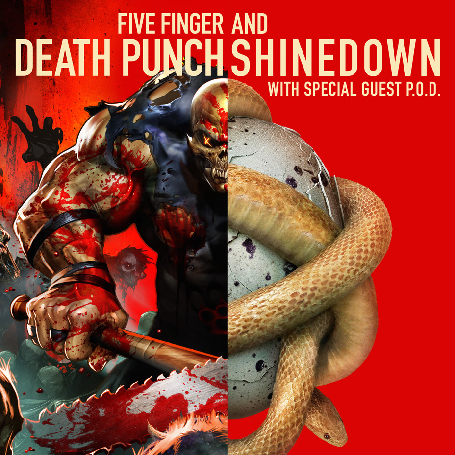 Five Finger Death Punch and Shinedown - 2016 U.S. Tour - 2016 Tour Poster