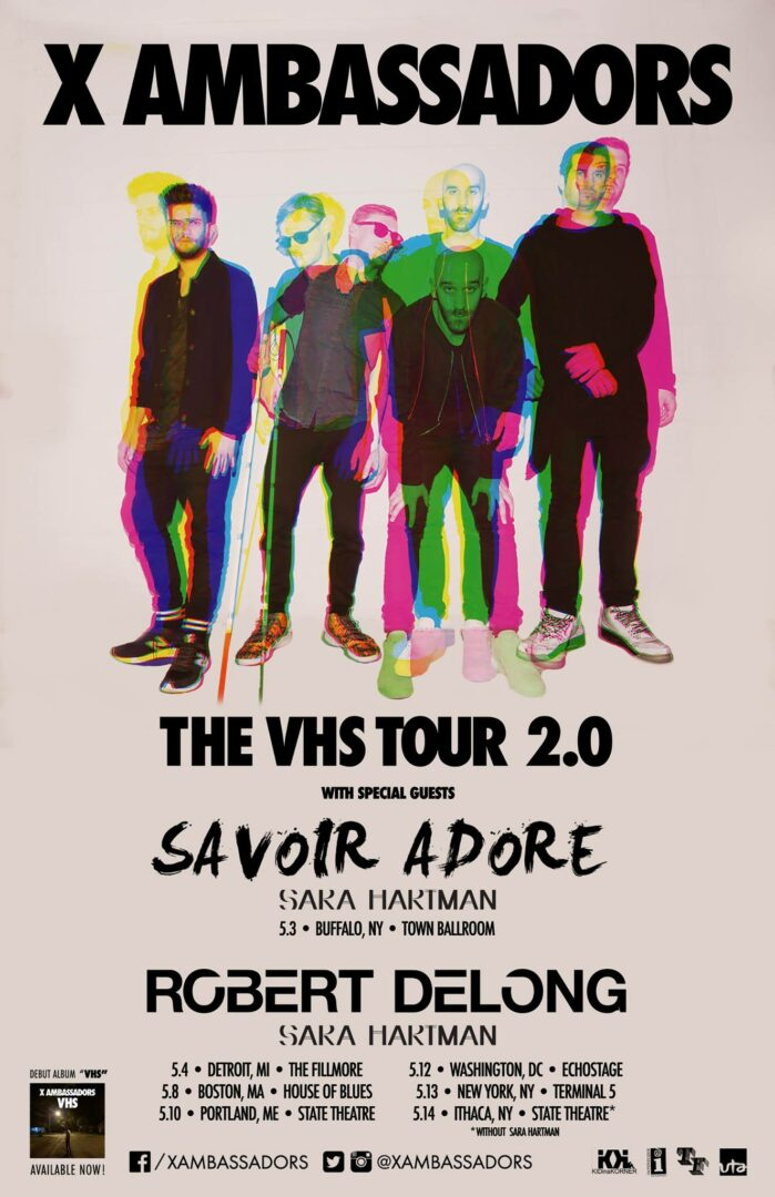 X Ambassadors - The VHS Tour 2.0 Northeast Leg - 2016 Tour Poster