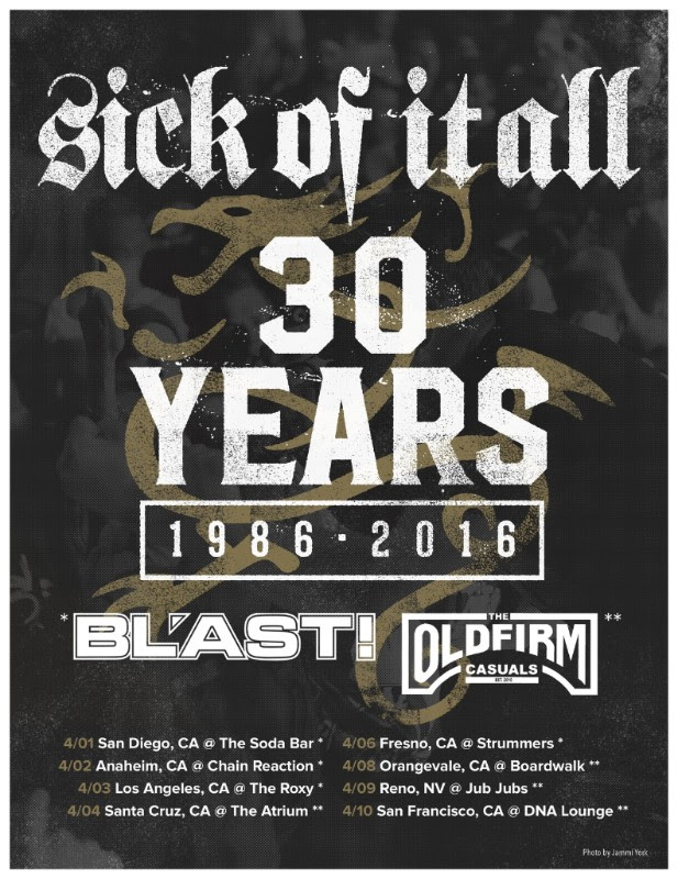 Sick Of It All - U.S. 30th Anniversary Tour - 2016 Tour Poster