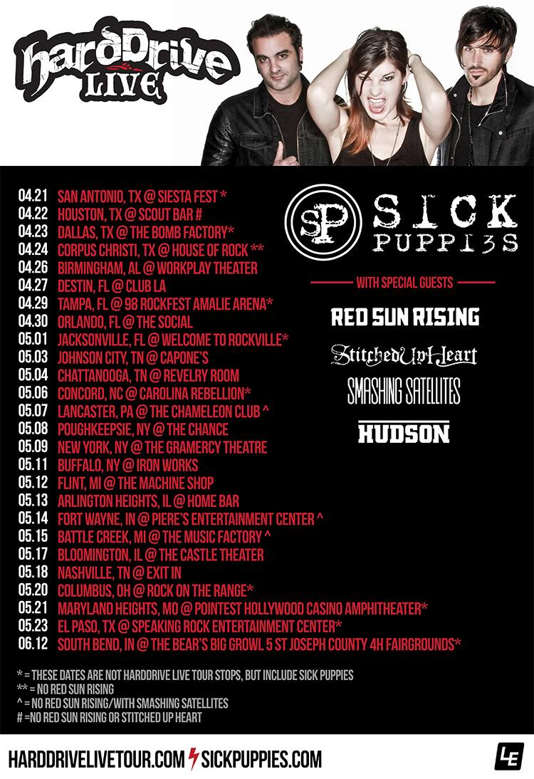 Sick Puppies - U.S. hardDriveLive Tour - 2016 Tour Poster