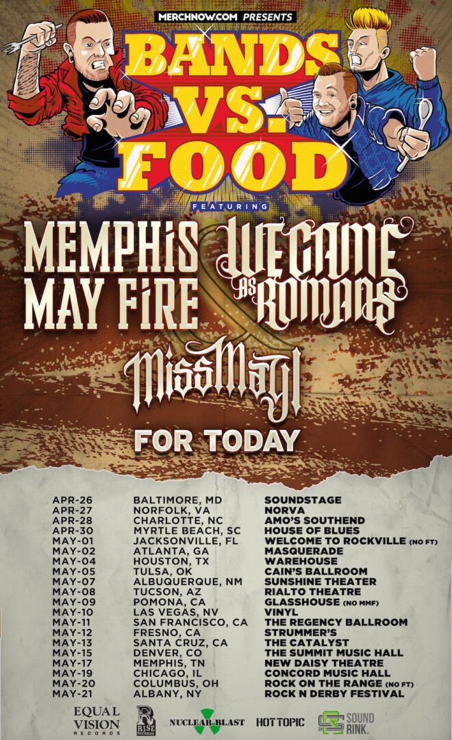 We Came As Romans and Memphis May Fire - U.S. Bands Vs. Food Tour - 2016 Tour Poster
