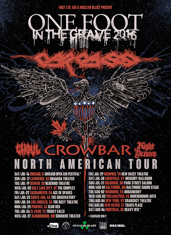 Carcass - One Foot In The Grave 2016 Tour - poster