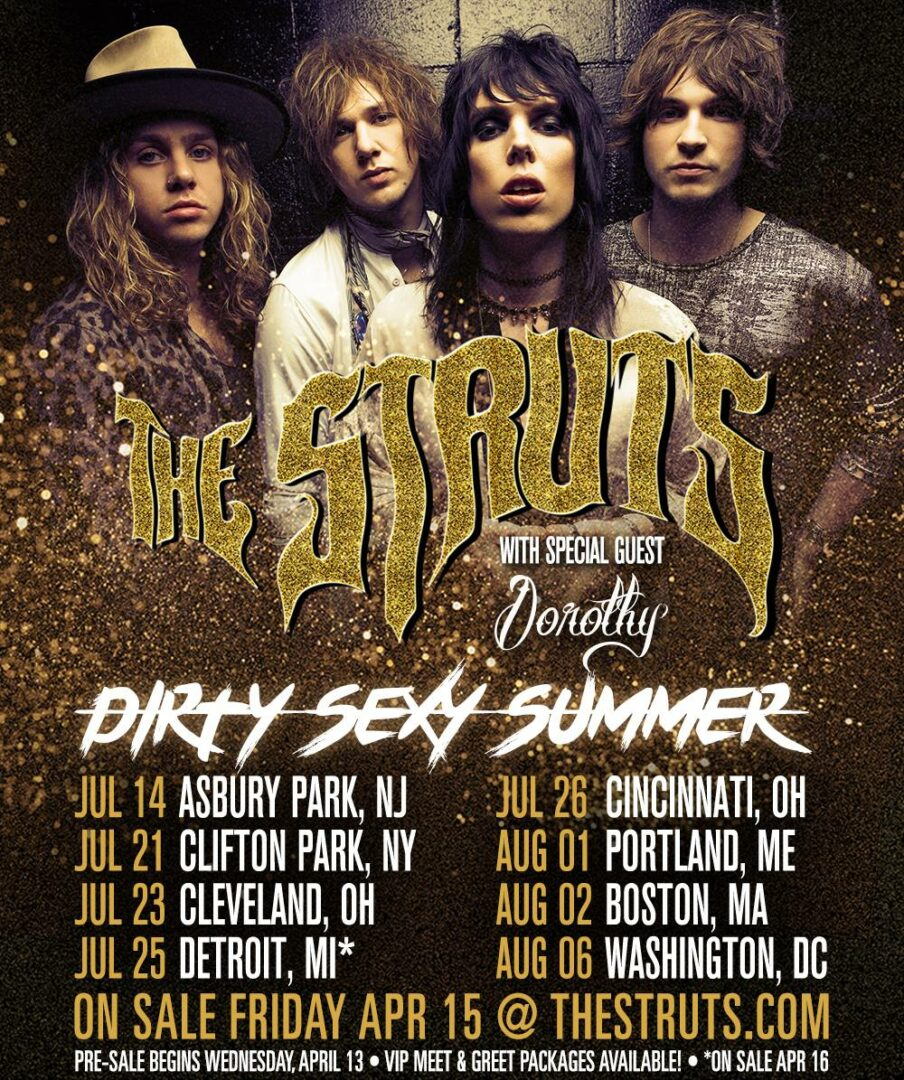 The Struts - 2016 Dirty Sexy Summer Tour - 2016 Tour Poster