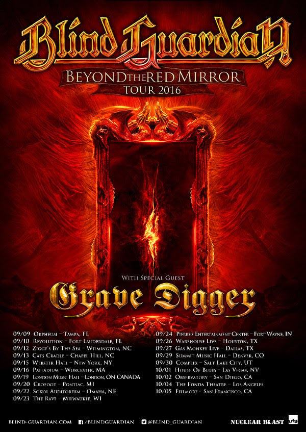 Blind Guardian - North American Beyond the Red Mirror Tour - 2016 Tour Poster