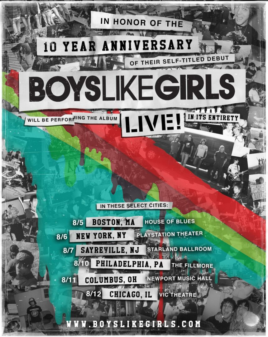 Boys Like Girls - 10 Year Anniversary Tour - 2016 Tour Poster