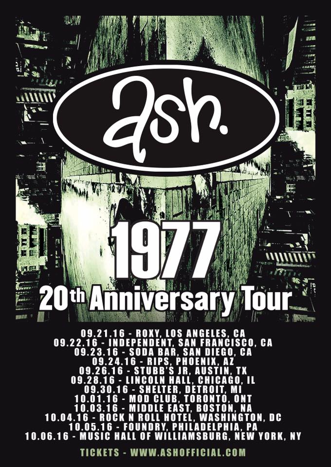 Ash - North American and European 1977 20th Anniversary Tour - 2016 Tour Poster