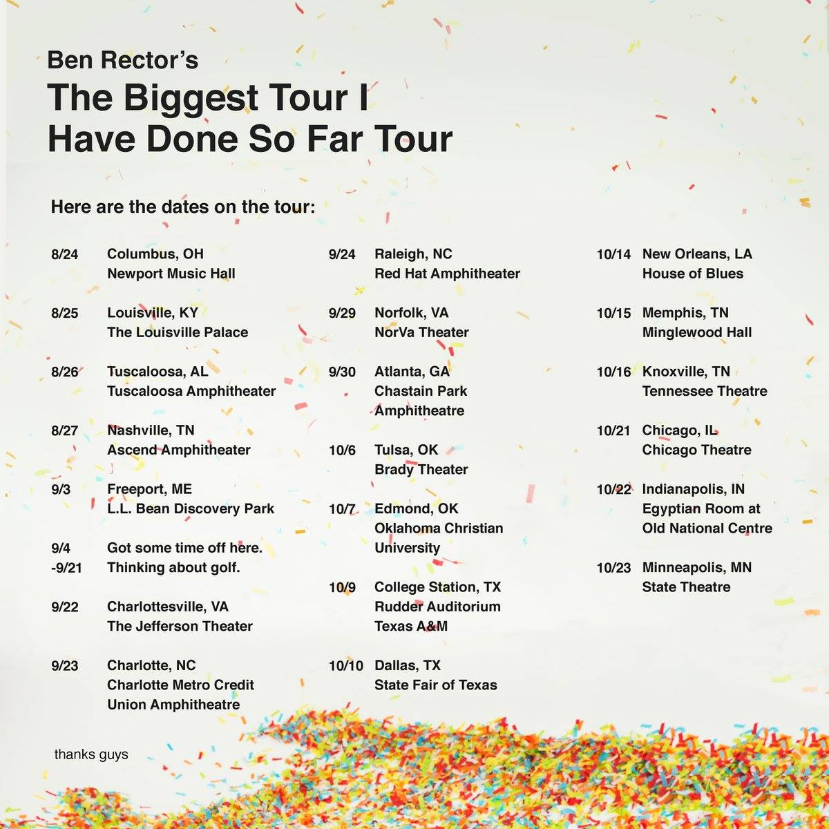 Ben Rector - U.S. The Biggest Tour I Have Done So Far Tour - 2016 Tour Poster