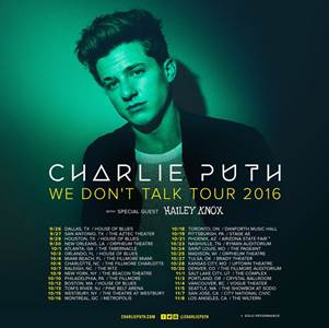 Charlie Puth - North American We Don't Talk Tour - 2016 Tour Poster