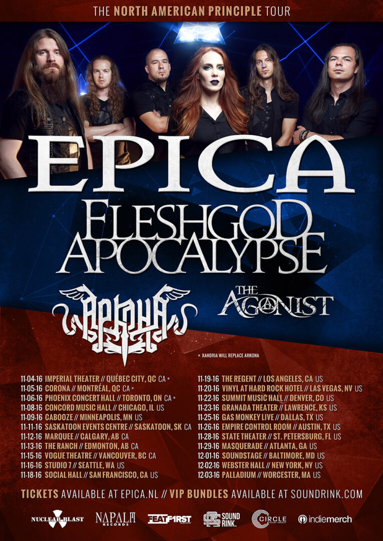 Epica - North American Principle Tour - 2016 Tour Poster