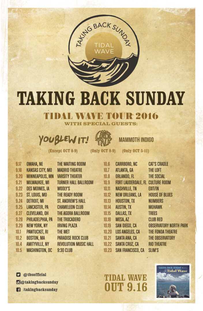 Taking Back Sunday - Tidal Wave Tour - poster