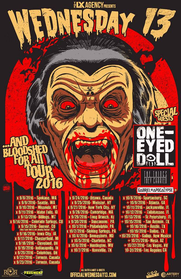Wednesday 13 - ...And Bloodshed For All Tour 2016 - poster
