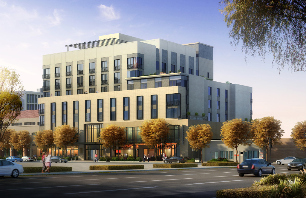Rendering of the mixed use hotel and retail project 245 Columbine located in Denver's Cherry Creek North neighborhood. Image courtesy Sage Hospitality