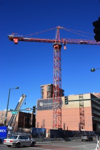A tower crane was recently installed at the 1401 Lawrence site. Denver Urban Review Feb. 2015