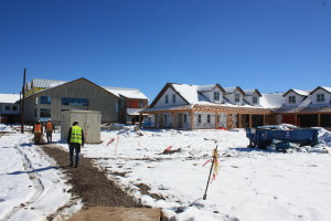 Breckenridge Brewery under construction with the Farm House building in the foreground Feb. 2015.
