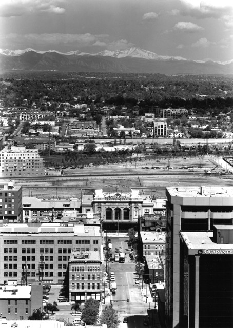 Denver's Union Station and Long's Peak. Ewing Photography.