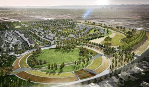 Rendering of the Stapleton parks with native prairie landscaping incorporated into the project. Image courtesy