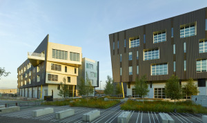 The TAXI development in Denver's RiNo neighborhood. Drive 2 is the building on the lefthand side of the photo and Drive 1 is on the righthand side.  Image courtesy Dynia Architects