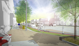 Rendering of the Brighton Boulevard with streetscape improvements. Image courtesy City of Denver.