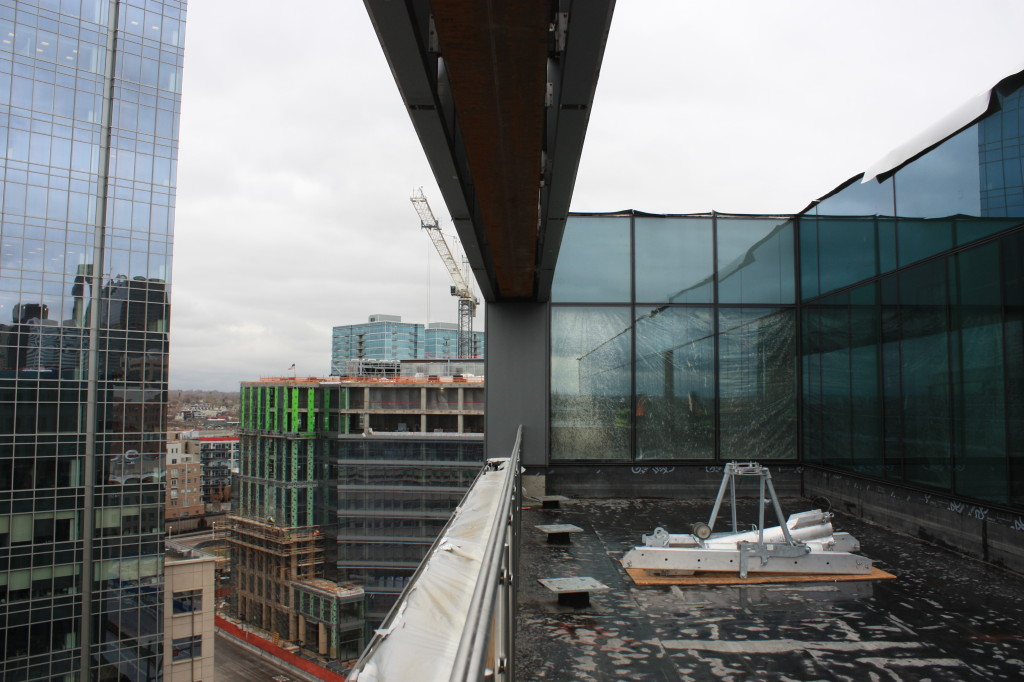 The 10th floor patio at the Triangle Building looking towards the northeast