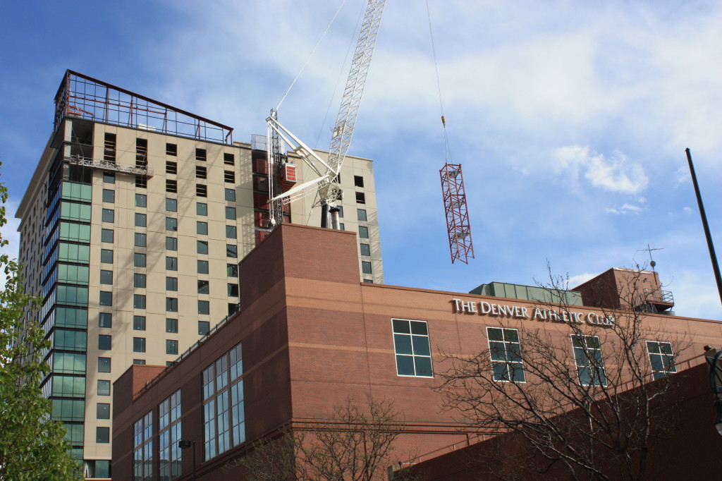 The  crane comes down at the Hyatt House Hyatt place hotel project