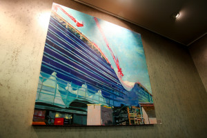 Goldman painting depicting the construction of the DIA hotel and transit project. Image courtesy DIA.